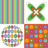 减速火箭绿色橙色模式的流行音乐 免版税图库摄影