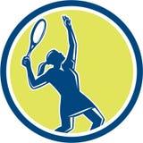 减速火箭网球员女性球拍的圈子 库存照片