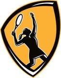 减速火箭网球员女性球拍的盾 库存照片