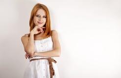 减速火箭美丽的礼服的女孩 免版税库存照片