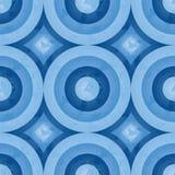 减速火箭蓝色圈子的模式 免版税库存图片
