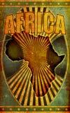 减速火箭非洲grunge例证老的海报 免版税库存图片