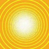 减速火箭黄色背景圆环走廊的流行艺术 库存照片