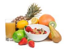 减重早餐概念用有机的果子 免版税库存图片