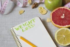 减重计划或菜单的笔记本 图库摄影