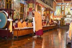 凝思在伟大的Stupa的佛教徒修道院,市里加德满都,尼泊尔2017年12月 库存图片