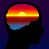 凝思安静的脑子日落想象力 向量例证