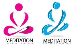 凝思或瑜伽3D商标 免版税库存图片