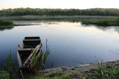 凝思的和谐风景:在顿河,俄罗斯的清早 库存照片