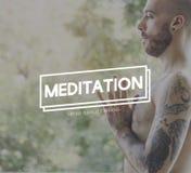 凝思锻炼健康精神自然概念 免版税图库摄影