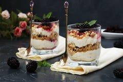 凝结点心用黑莓和曲奇饼在玻璃在黑暗的背景 图库摄影