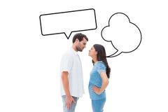 凝视彼此的恼怒的夫妇的综合图象 免版税库存图片