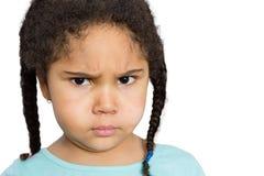 凝视您的恼怒的女孩反对白色背景 库存图片