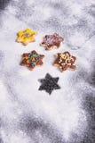 几个圣诞节曲奇饼立即可食在出现 库存照片