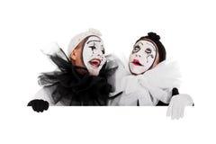 几个小丑笑 免版税库存照片