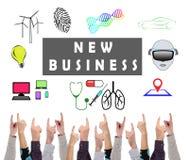 几个手指指向的新的企业概念 免版税图库摄影