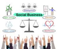 几个手指指向的社会企业概念 库存照片