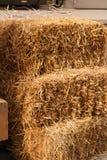 几个黄色干草堆夏天的图象 免版税图库摄影