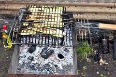 几乎完成,油煎直到在一个格栅的金黄棕色夏南瓜在热的煤炭 免版税库存图片