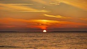 几乎去的日落St Josephs海湾 图库摄影