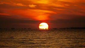 几乎去的日落St Josephs海湾 免版税库存照片