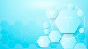 几何、正面和六角形标志医疗概念背景 图库摄影