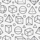 几何与平的线象的形状无缝的样式 几何的,算术教育现代抽象背景 库存例证