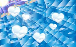 几何与白色云彩和太阳,传染媒介例证的阳光背景蓝天 免版税图库摄影