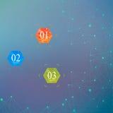 几何传染媒介背景分子和通信 与小点的被连接的线 水彩六角形状横幅 免版税库存照片
