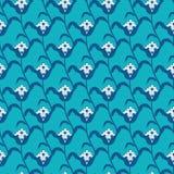 几何传染媒介蓝色白色风格化的花 皇族释放例证