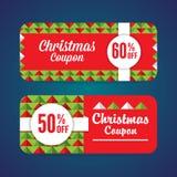 几何圣诞节的优惠券 库存照片