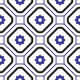 几何地中海蓝色和白色菱形无缝的瓦片样式 免版税图库摄影
