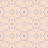 几何多色的无缝的样式 与紫罗兰色和蓝色设计元素的米黄背景 免版税库存图片