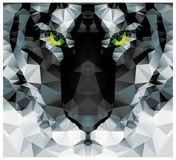 几何多角形白色老虎头,三角样式设计 免版税库存图片