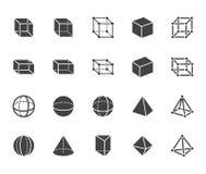 几何形状平的纵的沟纹,线象集合 抽象图立方体,球形,锥体,棱镜传染媒介例证 标志为 库存例证
