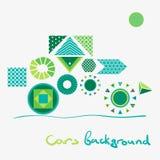 几何形状抽象背景相似与绿色汽车 库存照片