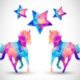 几何形状抽象马与星的 免版税库存照片