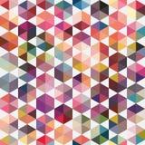 几何形状的减速火箭的样式 三角五颜六色的马赛克后面 免版税库存照片