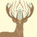 几何形状的鹿图象,在黄色背景 免版税库存图片