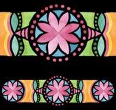 几何手拉的水彩无缝的装饰品 图库摄影