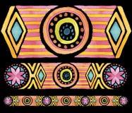 几何手拉的水彩无缝的装饰品 库存图片