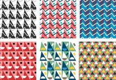 几何抽象无缝的样式集合 简单的三角主题 免版税图库摄影