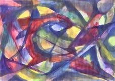 几何抽象水彩绘画 万花筒 向量例证