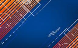 几何抽象的背景 任意白色形状和线 蓝色和橙色概念 现代明亮的背景 时髦 皇族释放例证