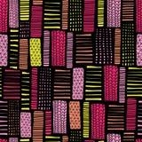几何无缝的传染媒介样式 在黑背景的摘要长方形桃红色和黄色手拉的线 不尽的背景 向量例证