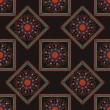 几何无缝的样式、正方形和菱形在黑背景 库存图片
