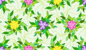 几何无缝的模式背景 色的不同的花 库存例证