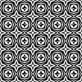 几何星开花在黑n白色的无缝的样式背景例证 向量例证