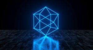 几何未来派科学幻想小说霓虹原始低多球形光 向量例证