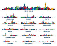 几何样式地平线城市阿拉伯半岛和亚洲 库存例证